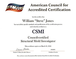 ACAC Certified  Structural Mold Investigator