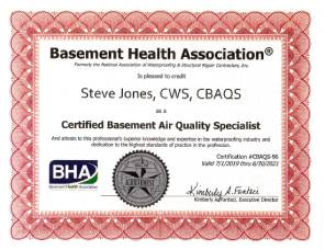 BHA Certificate of Basement Air Quality Specialist