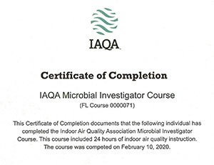 IAQA Completion of Microbial Investigator Course