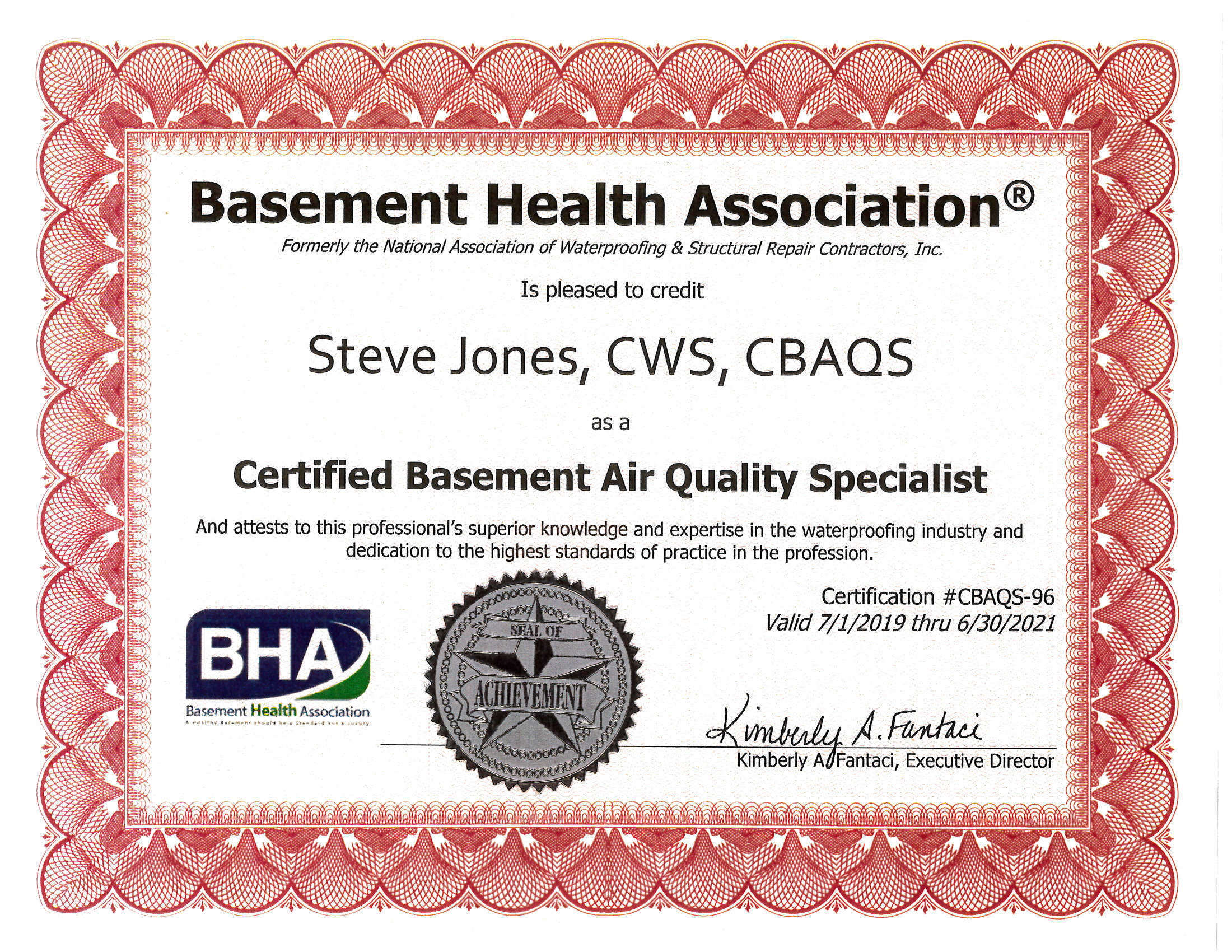 Certified Basement Air Quality Specialist